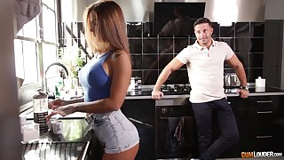 Long haired oiled up Latina mismanage Susy Gala rides a fat blarney