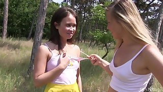 Outdoor lesbian babes Jenni Ferri increased by Selvaggia enjoy the nature