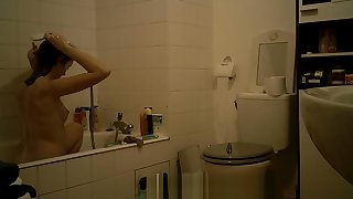 College Teen Brunette Spy Bathroom Accoutrement 1