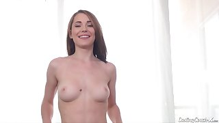 Miniature brunette with perky tits nailed hard at casting