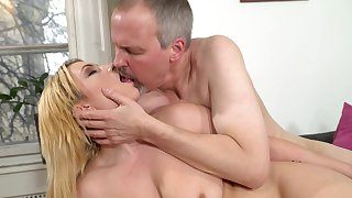 Old guy gets hard of this hot young blonde and fucks say no to