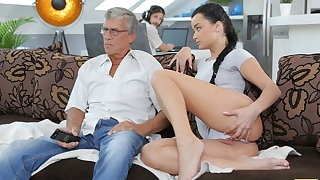 DADDY4K. Aroused cutie permits BF's daddy less fuck her greedy pussy